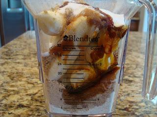 Ingredients for Peanut Butter Banana Bread in blender