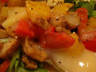Close up of Vegan Fajitas with Vegan Sweet Ginger-Lime-Cumin Dipping Sauce