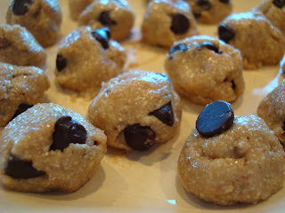 Raw Vegan Chocolate Chip Cookie Dough Balls on plate