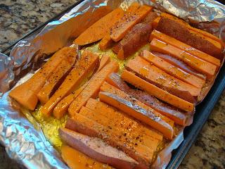 Roasted Sweet Potato Fries in pan