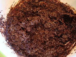Mixed ingredients to make Raw Vegan Dark Chocolate Coconut Snowballs in bowl