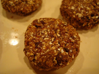 Up close of 5 Minute Raw Vegan Oatmeal Raisin Cookies