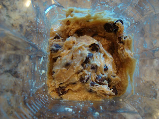 Raw Vegan Chocolate Chip Cookie Dough Ball dough in blender