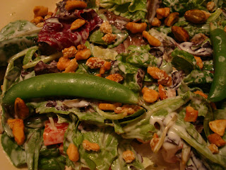 Close up of dressed salad