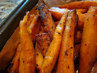 Roasted Sweet Potatoes out of oven