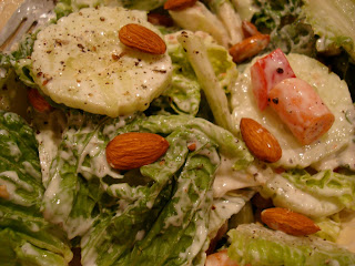 Vegan Cesar Salad topped with Homemade Cesar Salad Dressing