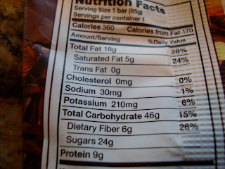 Nutrition Facts on Pro Bar Koka Moka