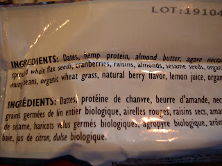 Ingredient label on back of bar