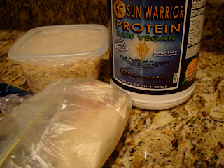 Packaged up oats and Brown Rice Protein Powder