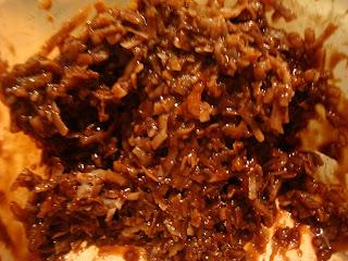 Close up of Vegan Chocolate Coconut Snowball mixture