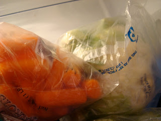 Bags of carrots and cauliflower
