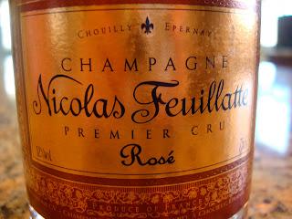 Label on bottle of champagne