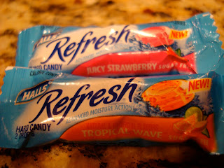 Two flavors of Halls Refresh throat lozenges