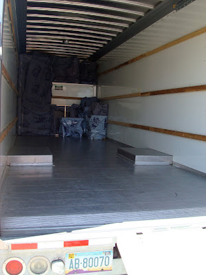 Inside bed of moving truck