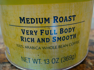 Bottom of Coffee Container saying Medium Roast