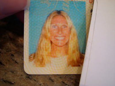 Close up of photo of woman on drivers license