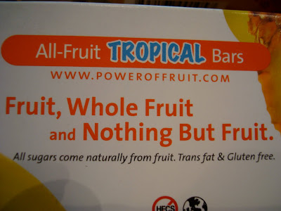 Box saying All-Fruit Tropical Bars