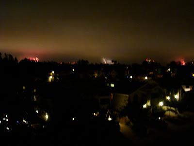 Skyline view of fireworks