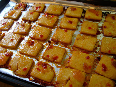 Flipped tofu in oven