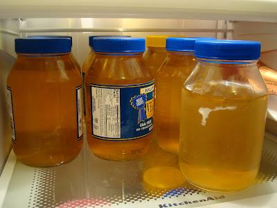 Jarred Kombucha in refrigerator