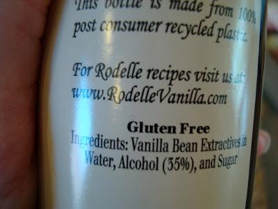 Bottom of bottle of extract saying gluten free