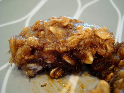 Split open muffin on plate