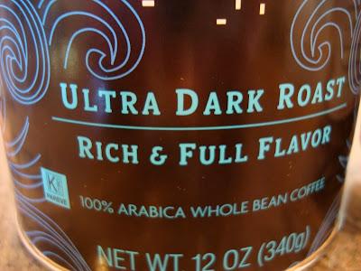 Close up of bay blend coffee ultra dark roast