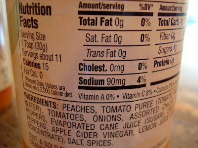 Nutritional Facts on back of Salsa