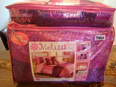Sateen Purple and Pink bedding set in bag