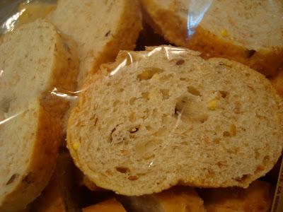 Close up of baguette slices bag