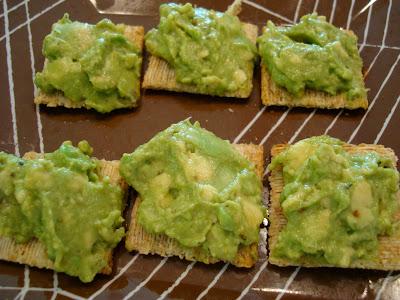 Homemade Guacamole on crackers