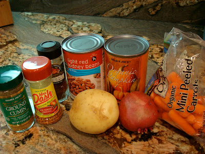 Ingredients for Savory Pumpkin, Potato, and Carrot Soup
