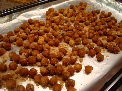 Chickpeas spread onto foil lined pan