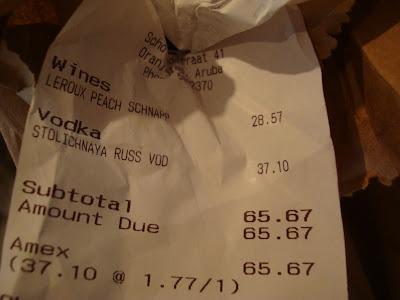 Receipt for alcohol