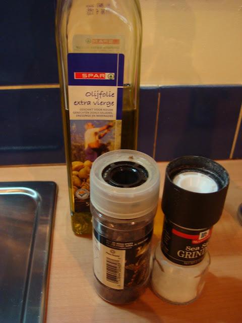 Salt, pepper and olive oil