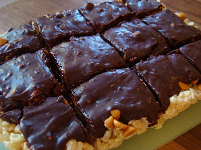 Cut Butterscotch Rice Krispy Treats with Vegan Chocolate Frosting