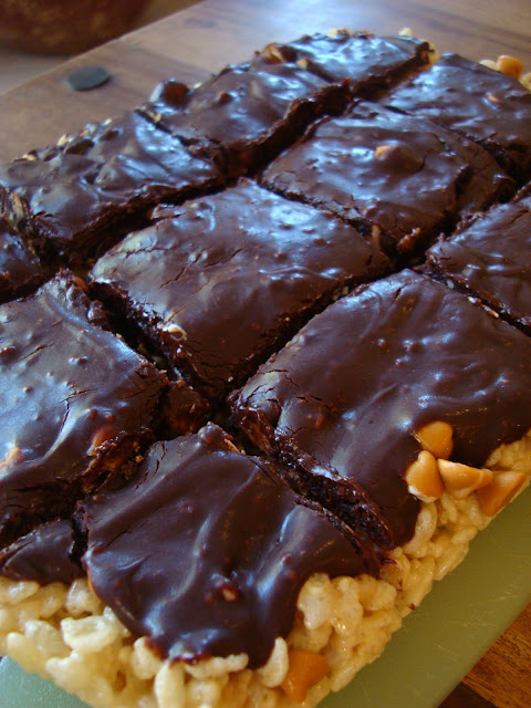 Butterscotch Rice Krispies Treats with Vegan Chocolate Frosting