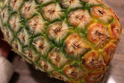 Close up of base of pineapple