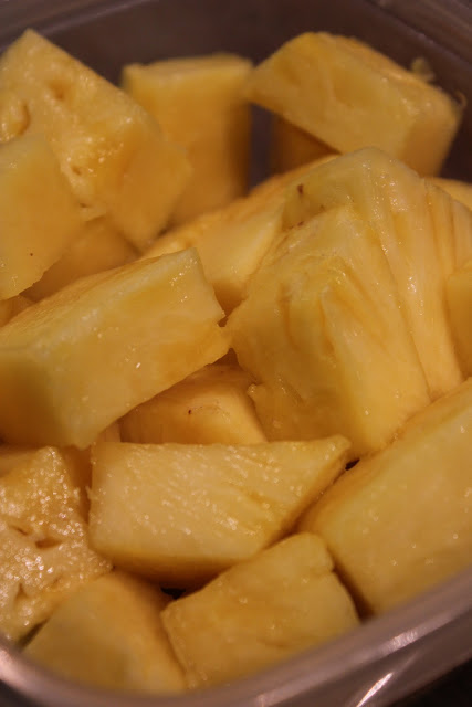 Close up of diced pineapple