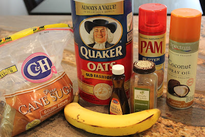 Ingredients to make Microwave Banana Oat Cakes