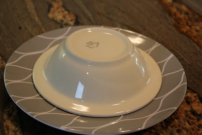 Bowl being inverted on plate