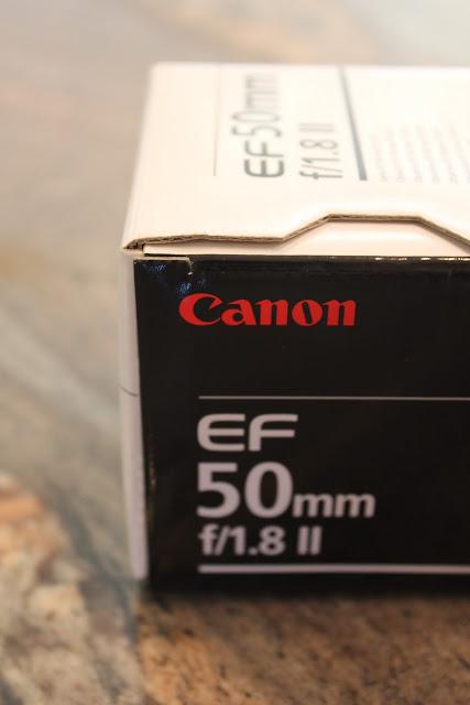 Close up of box saying Canon EF 50mm f/1.8 II