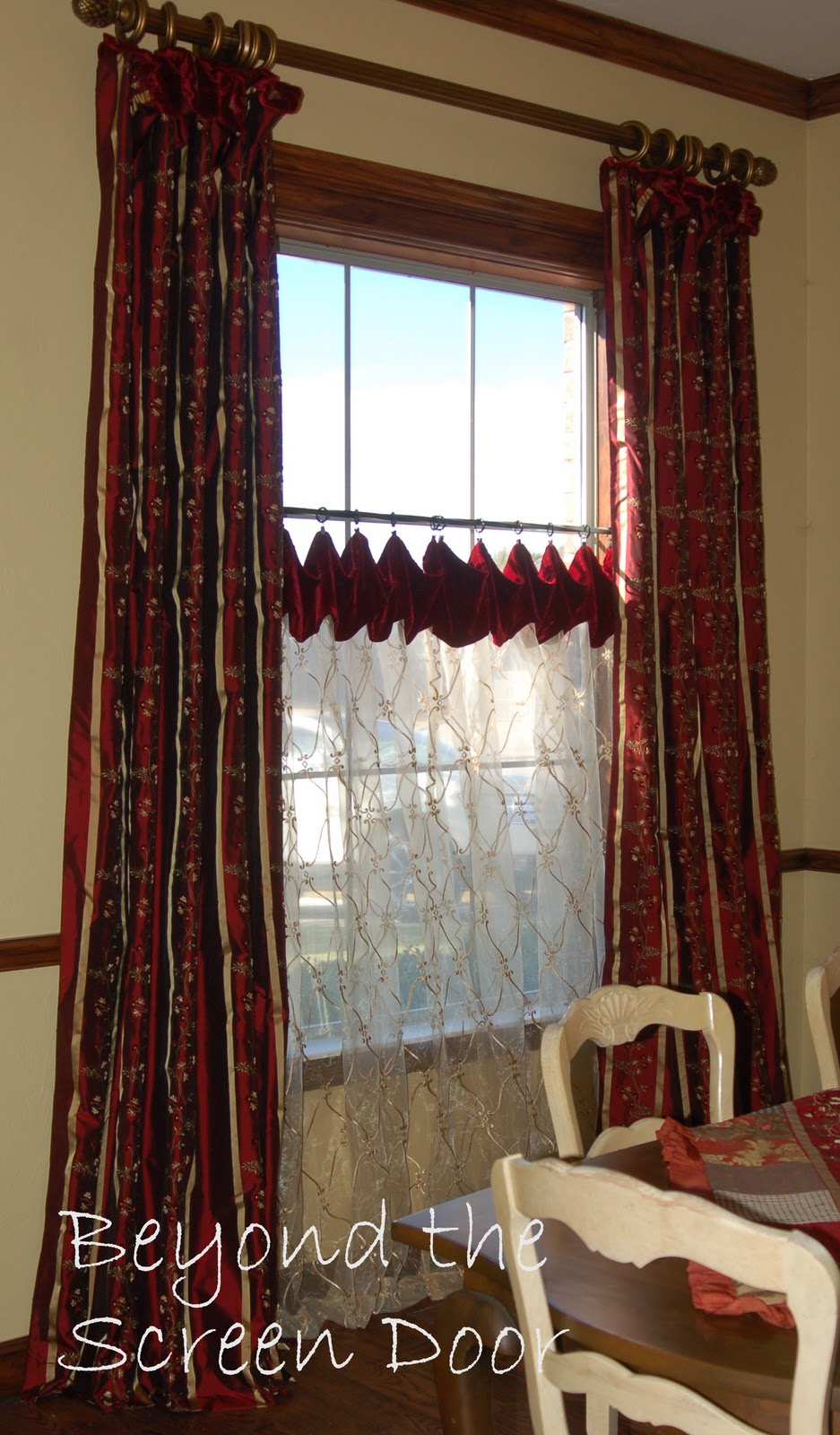 Beyond the screen door dining room window treatments Dining room window curtains