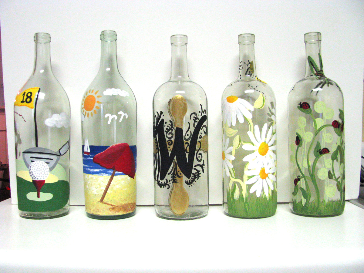 simplybcreative painted wine bottles