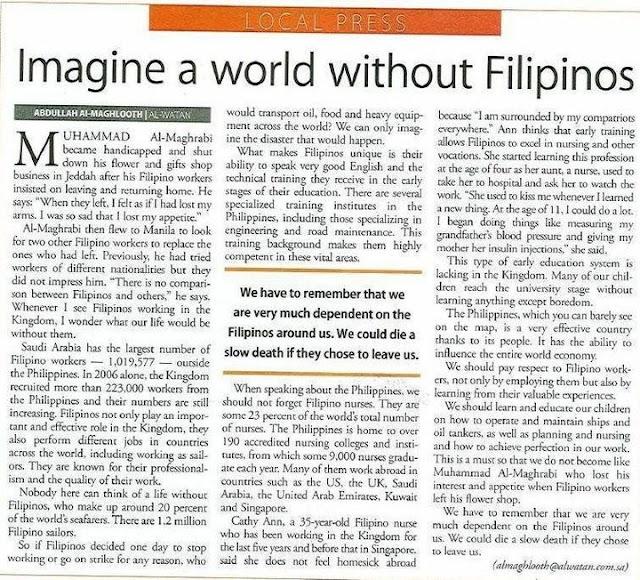Imagine a world without Filipinos