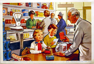 vintage book illustration grocery store