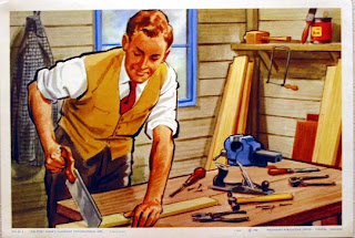 illustration of a man sawing a plank