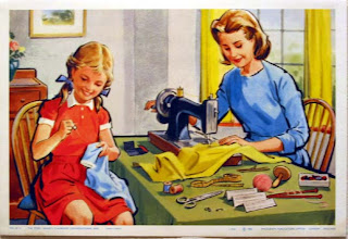 old fashioned illustration of mother and daughter sewing