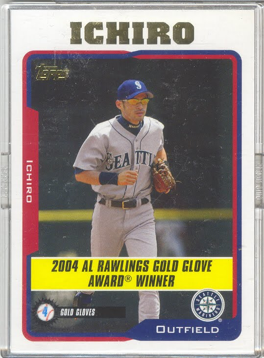 Player Name, position, team: Ichiro Suzuki, outfielder, Seattle Mariners. Special: 2004 AL Rawlings Gold Glove Award Winner. Last Line of Statistics: 2004
