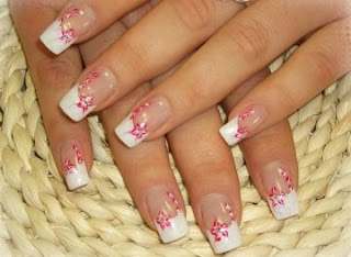 Long French Nails With Pink Flowers